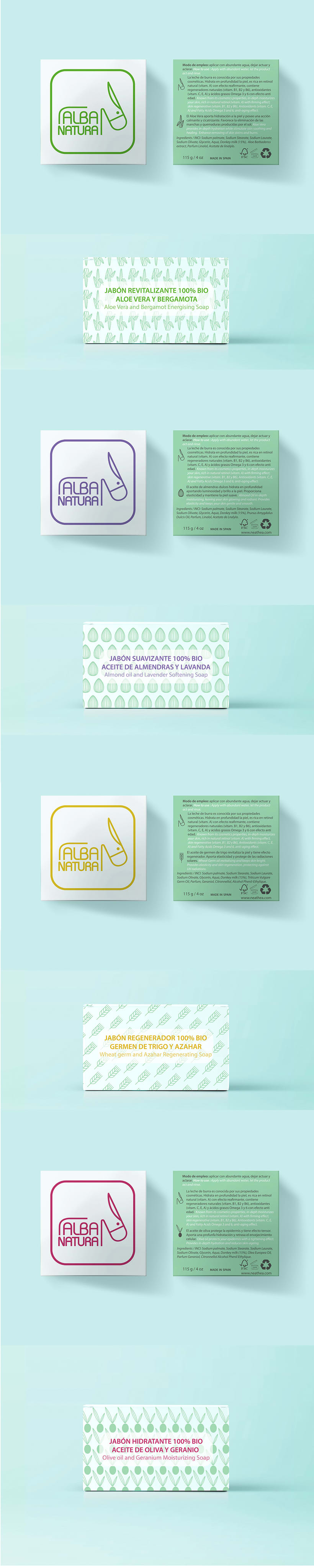 Logotipos, branding, diseño de flyers y de packagings que conforman la empresa NEATHEA (Alba Natura y Bioláctea) 3