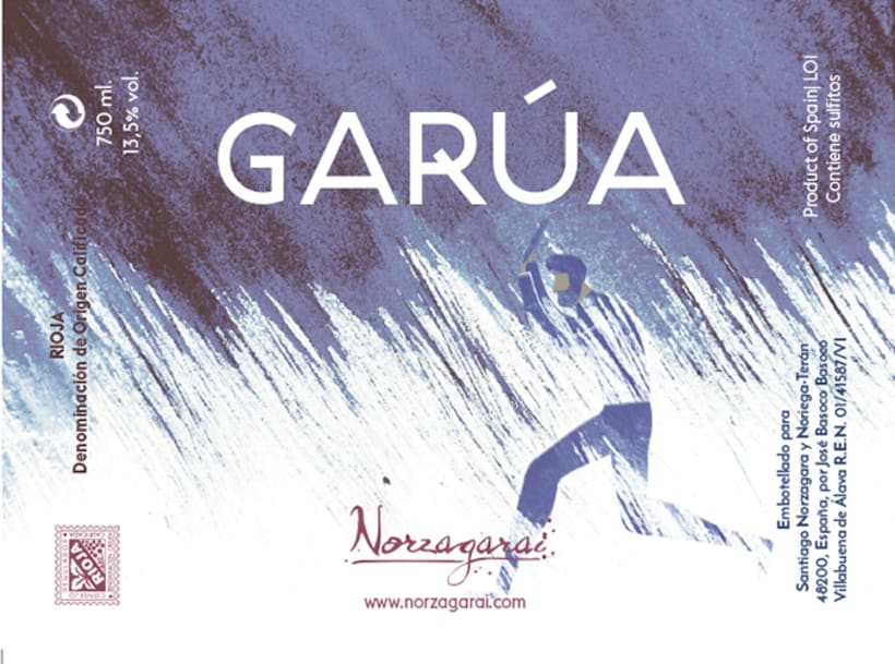 Diseño de la etiqueta de vino tinto Garúa de Bodegas Norzagarai -1