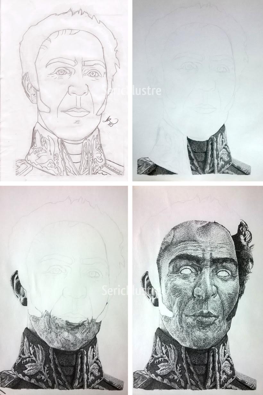 Simón Bolívar - Portrait in pointillism. -1