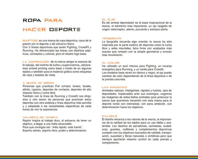 Imagen corporativa RAPTOR (Marca de ropa deportiva) 2