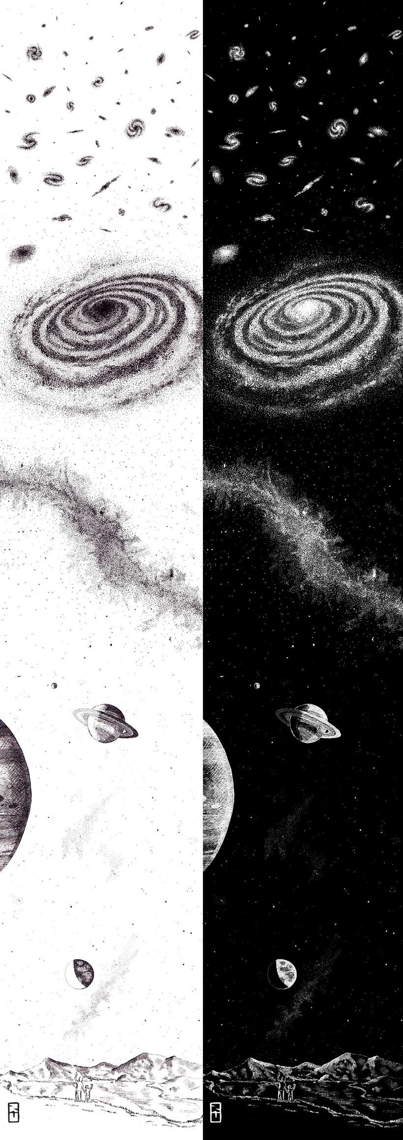 Espacio – Ilustración a tinta 1