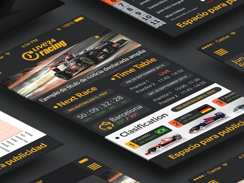 """Diseño de aplicación """"Fórmula 1 Live24 Racing"""" disponible en Appstore y Playstore -1"""
