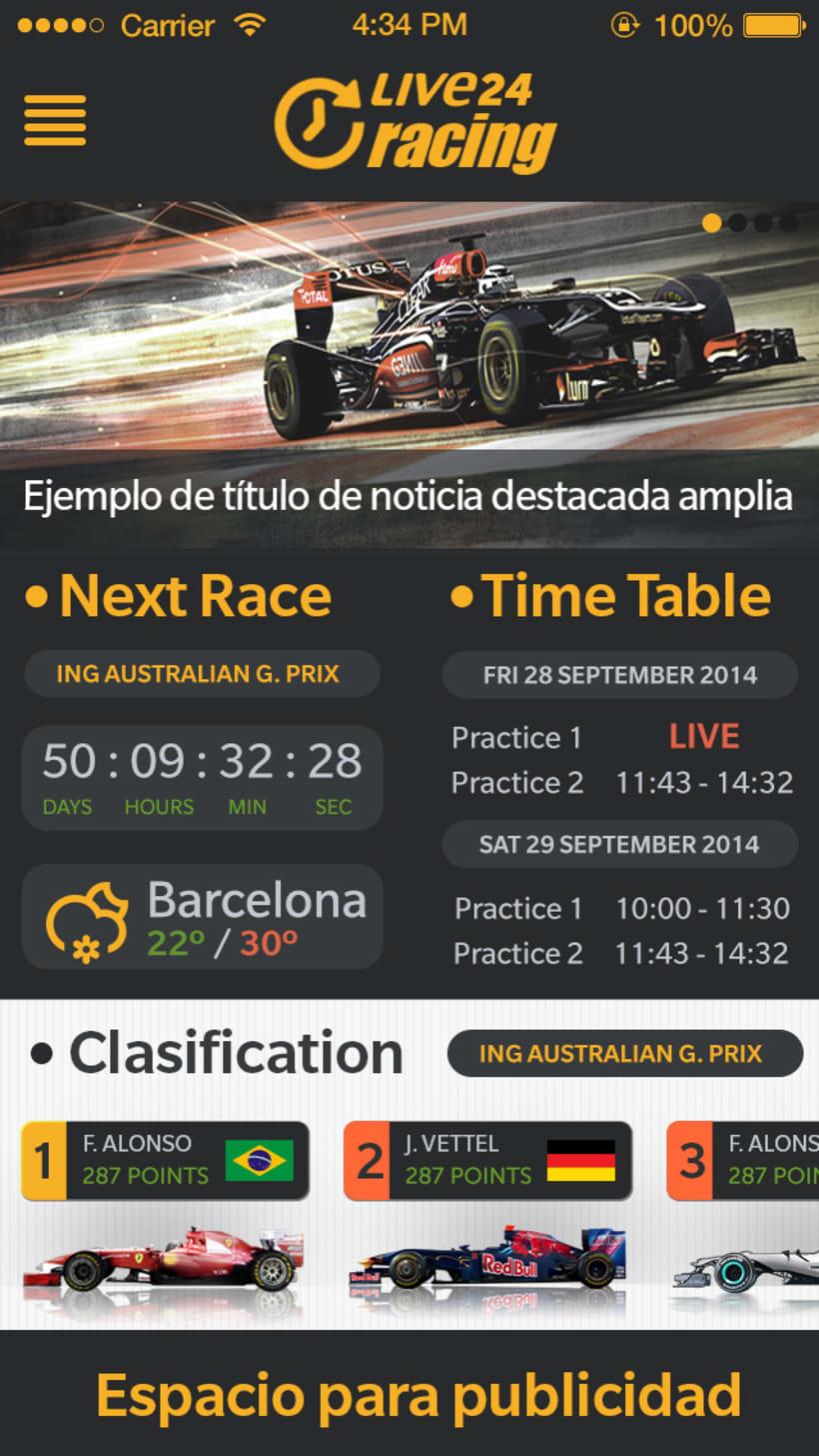 """Diseño de aplicación """"Fórmula 1 Live24 Racing"""" disponible en Appstore y Playstore 0"""