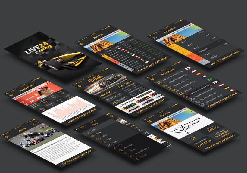 """Diseño de aplicación """"Fórmula 1 Live24 Racing"""" disponible en Appstore y Playstore 1"""