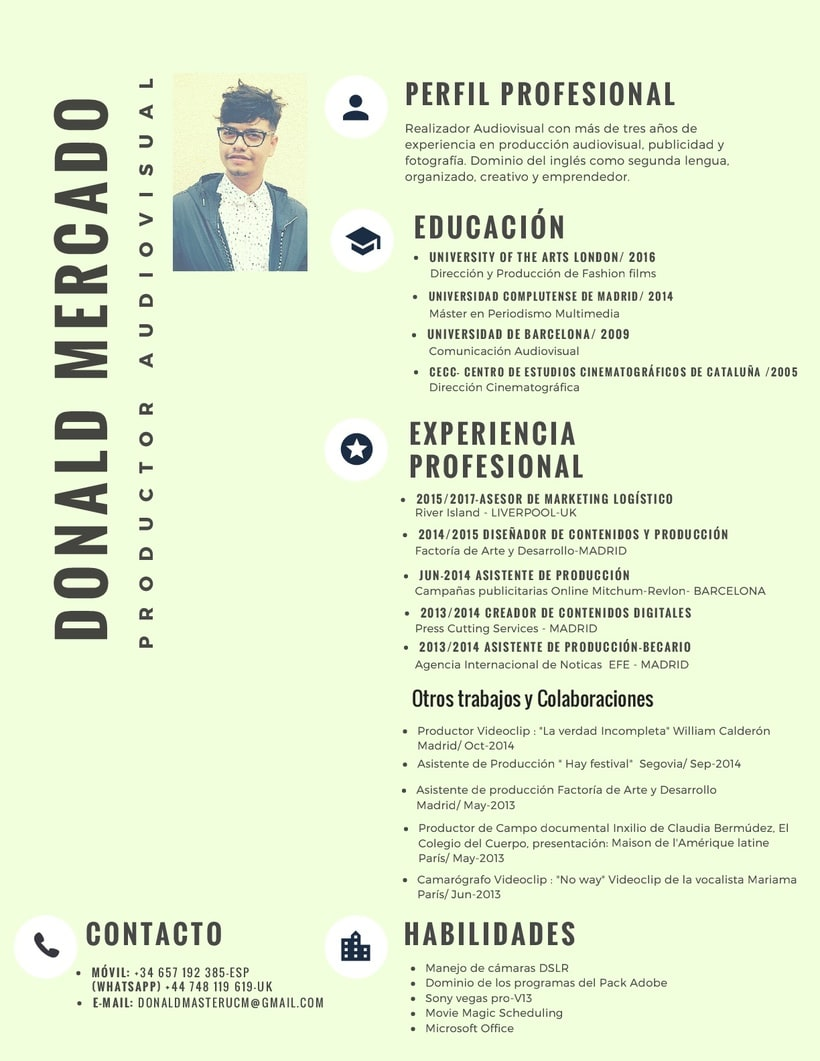 Currículum vitae/ Productor Audiovisual | Domestika