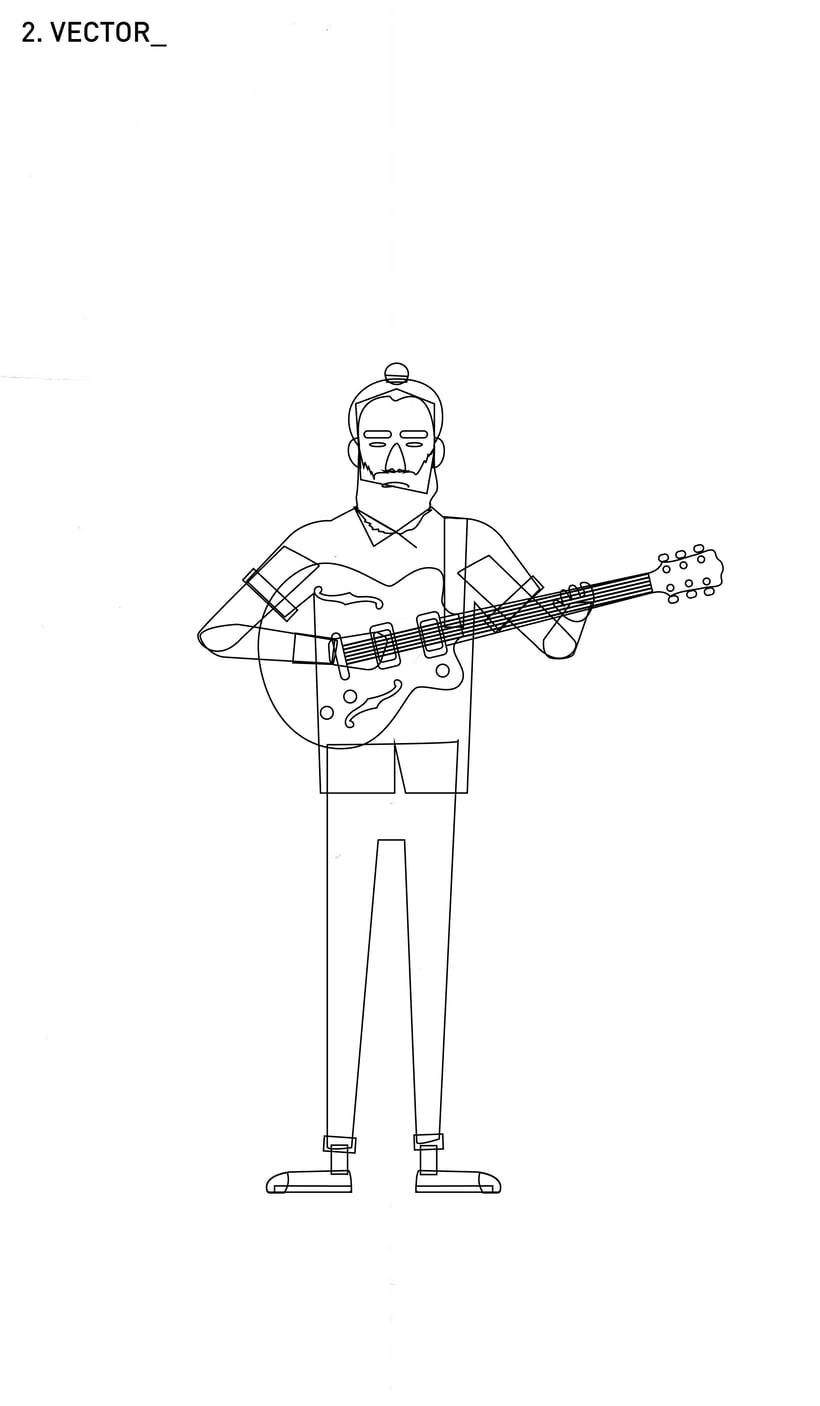 Ilustración guitarrista Indie 0