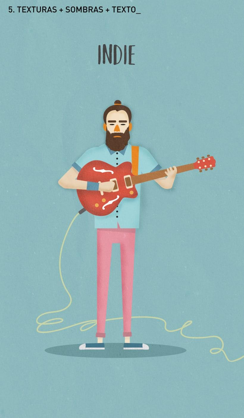Ilustración guitarrista Indie 3