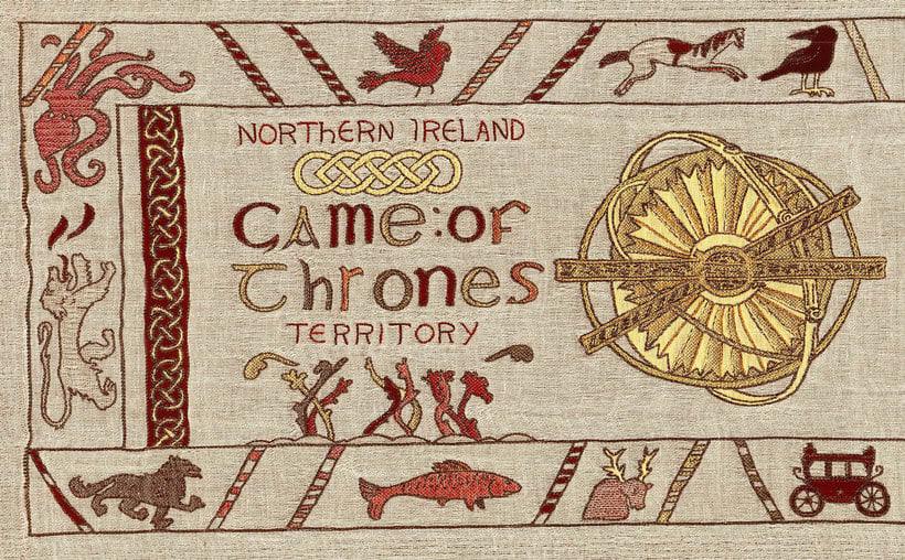 Un tapiz bordado con escenas épicas de Juego de Tronos 3