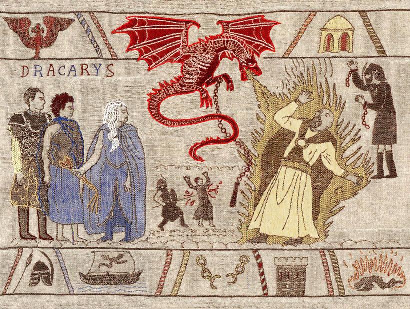 Un tapiz bordado con escenas épicas de Juego de Tronos 5