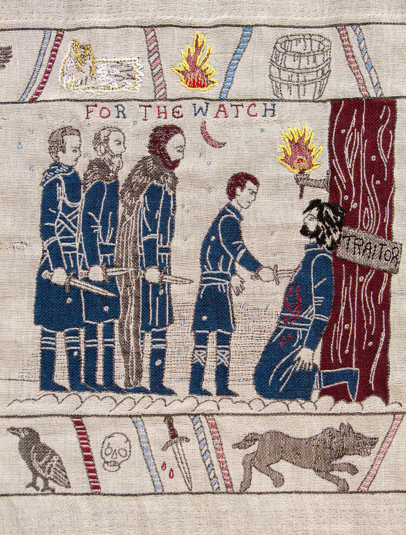 Un tapiz bordado con escenas épicas de Juego de Tronos 8