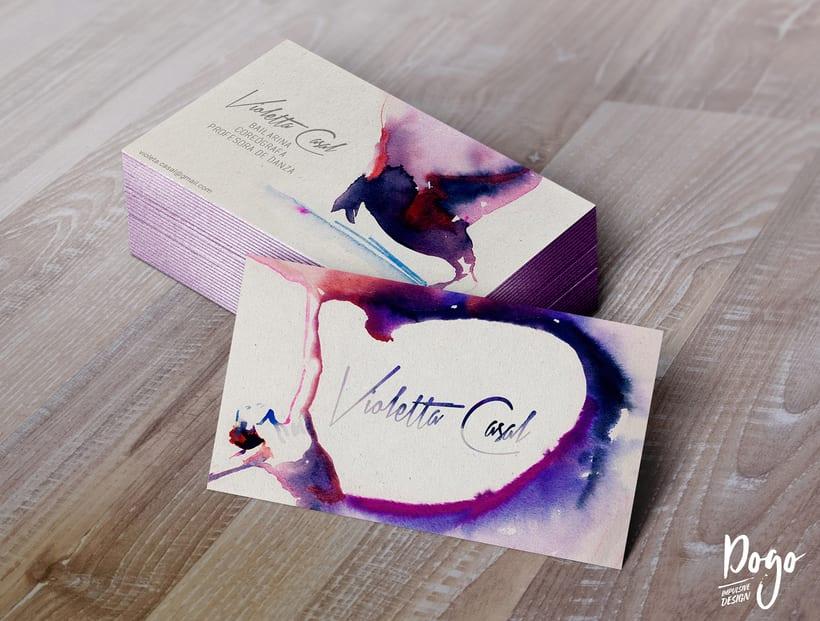 Diseño de tarjeta de visita y mockup 3D_ Violeta Casal, bailarina contemporánea. 0