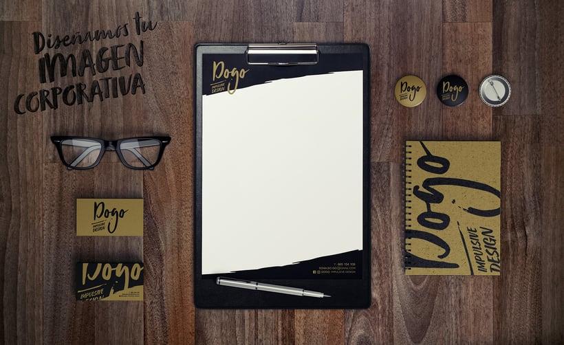Diseño de logotipo, imagen corporativa, papelería corporativa, tarjetas de visita y mockups de DOGO Impulsive Design 1