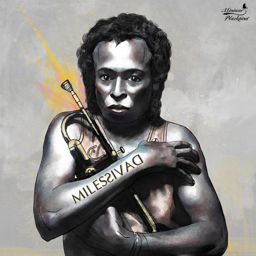Retrato de Miles Davis, por Miriam Blackbird 0