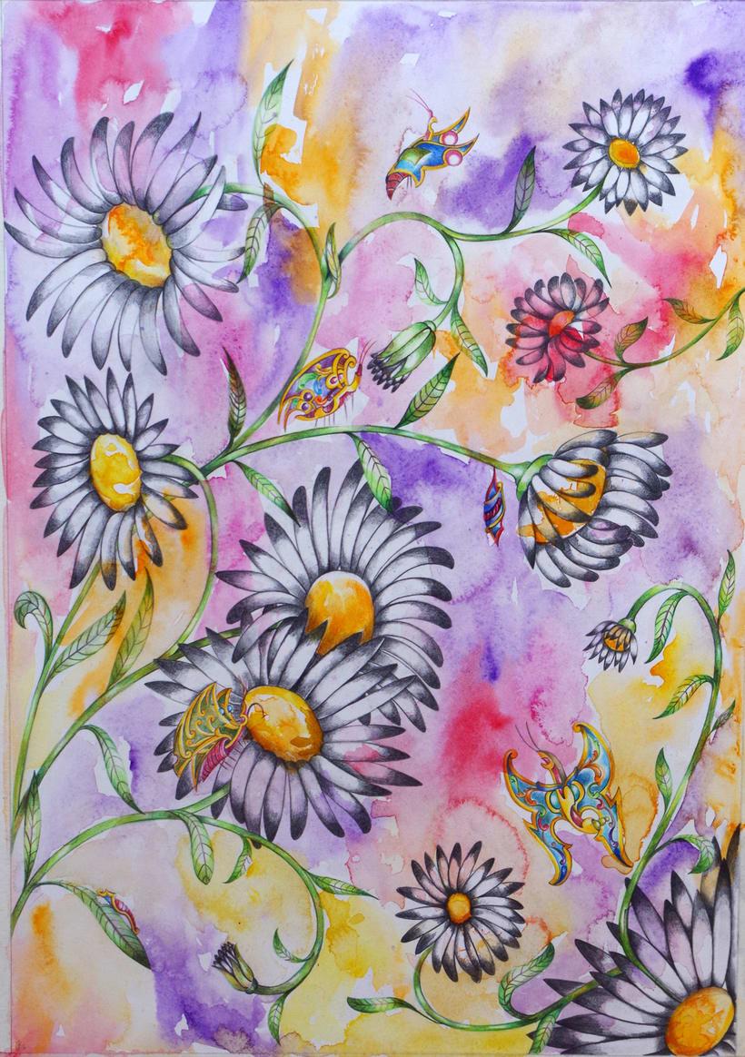 """""""Sinfonía de mariposas"""". Acuarela, grafito y lápiz de color sobre papel Basik. 50 x 70 cm. 2.016. -1"""