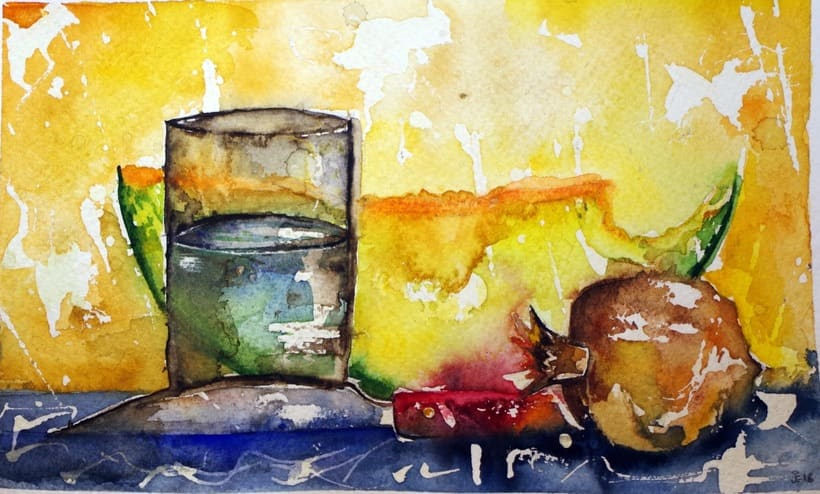 """Bodegón a la hora de cenar"" Acuarela sobre papel Canson de textura gruesa. 31 x 19 cm. 2.016. -1"