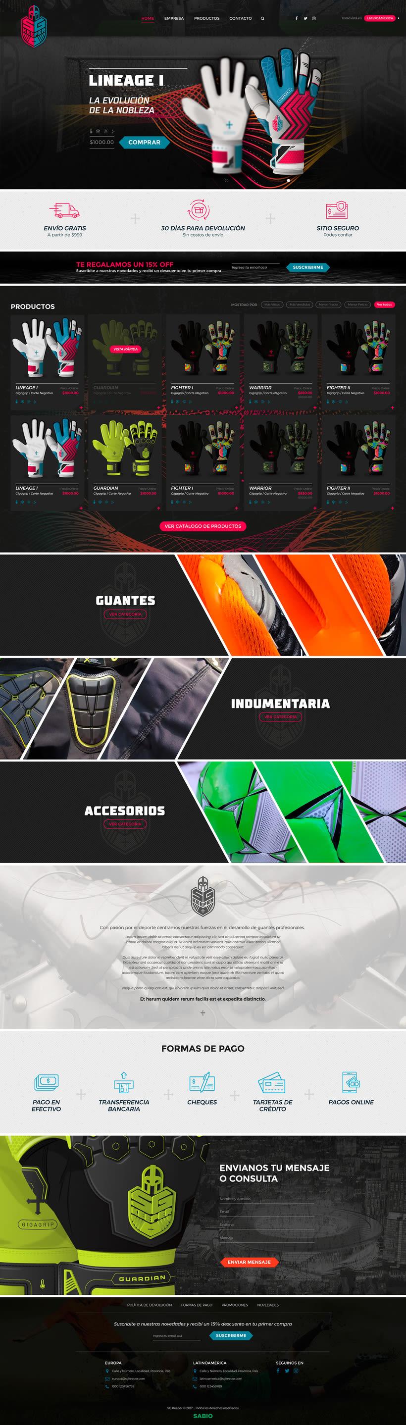 Diseño Onepage Responsive y Woocommerce para SG Keeper -1