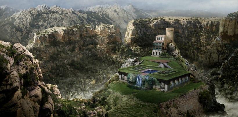 Matte Painting y Concept Art. Palacio entre montañas.  3