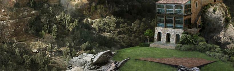 Matte Painting y Concept Art. Palacio entre montañas.  7