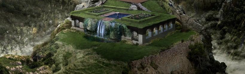 Matte Painting y Concept Art. Palacio entre montañas.  9