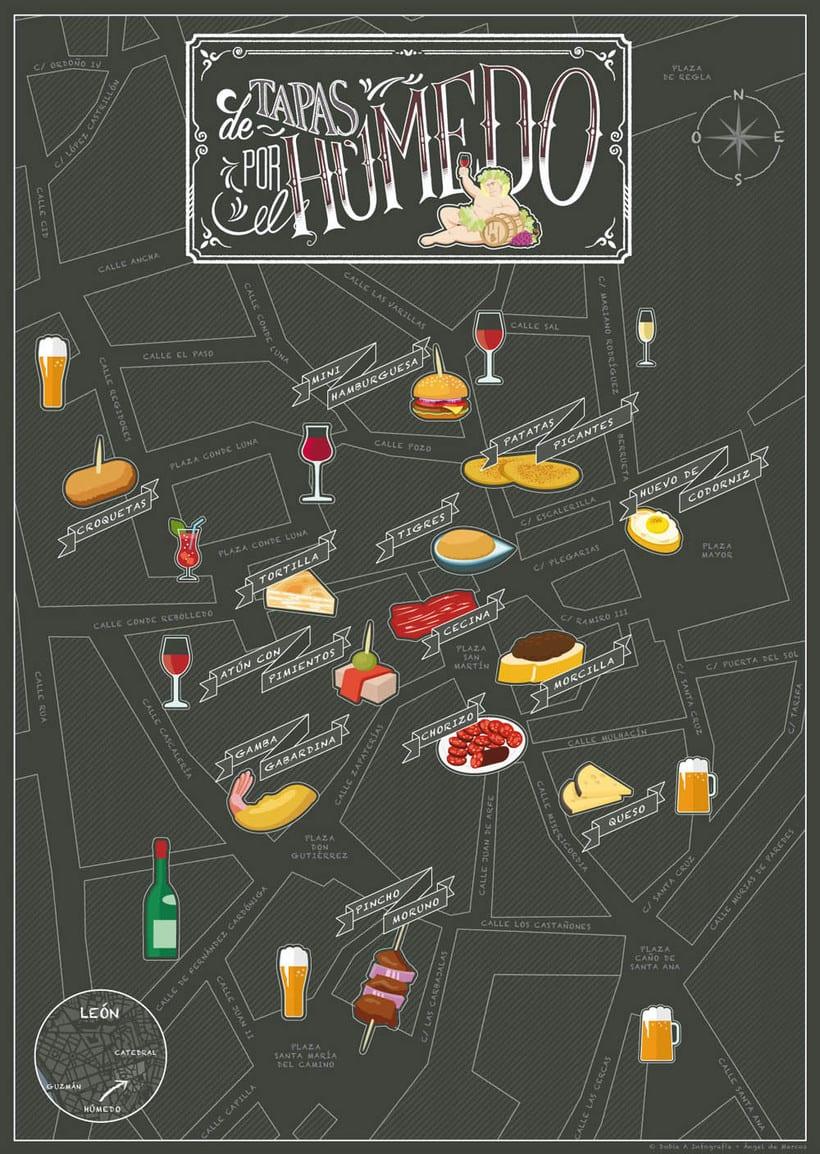 Mapa ilustrado del Barrio Húmedo de León -1