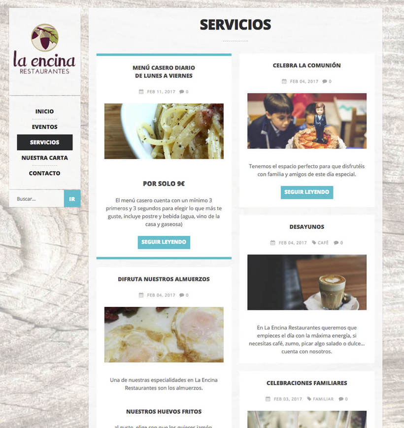 WordPress para La Encina Restaurantes 3