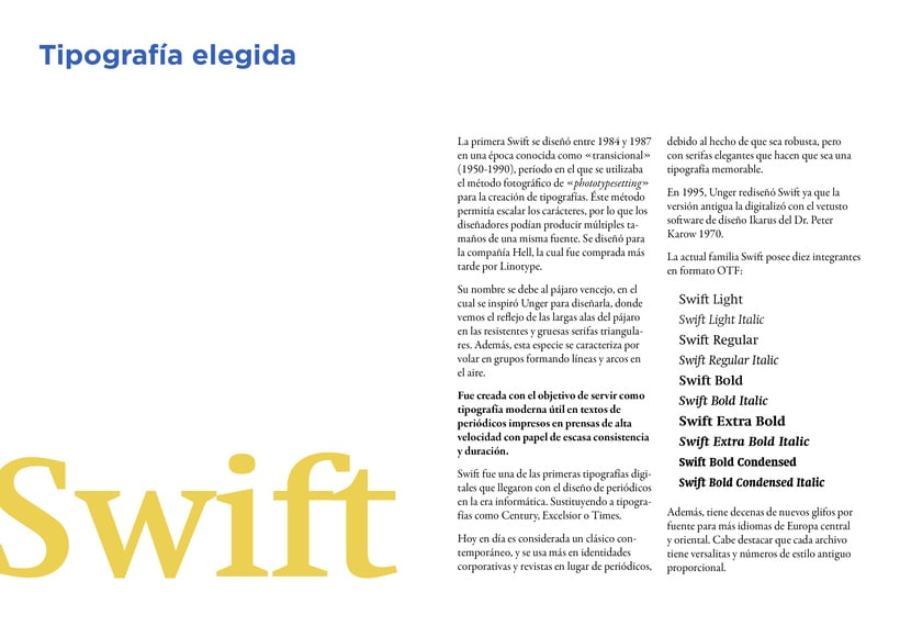 Type Study: Swift by G. Unger (Student Project) 2