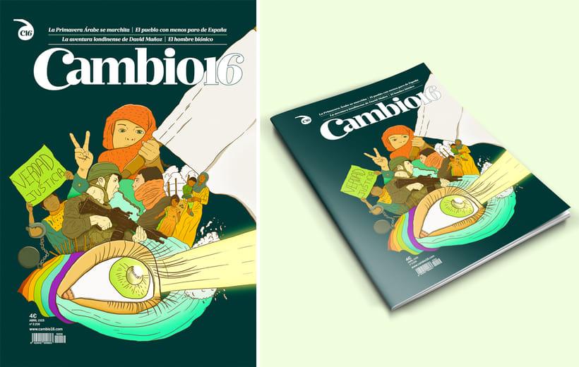 """Mi Proyecto del curso: Técnicas de Ilustración y composición realista para prensa """"Cambio 16"""" 4"""