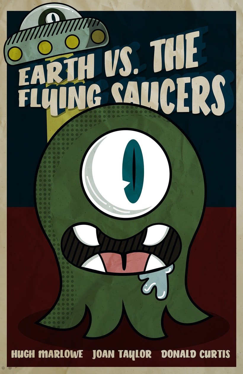 Poster vintage  Earth vs. the Flying Saucers 0