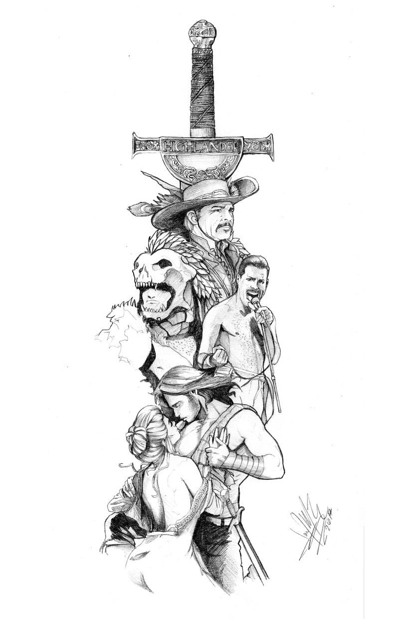 HIGHLANDER: EL INMORTAL... del dibujo a lápiz a la ilustración digital 1