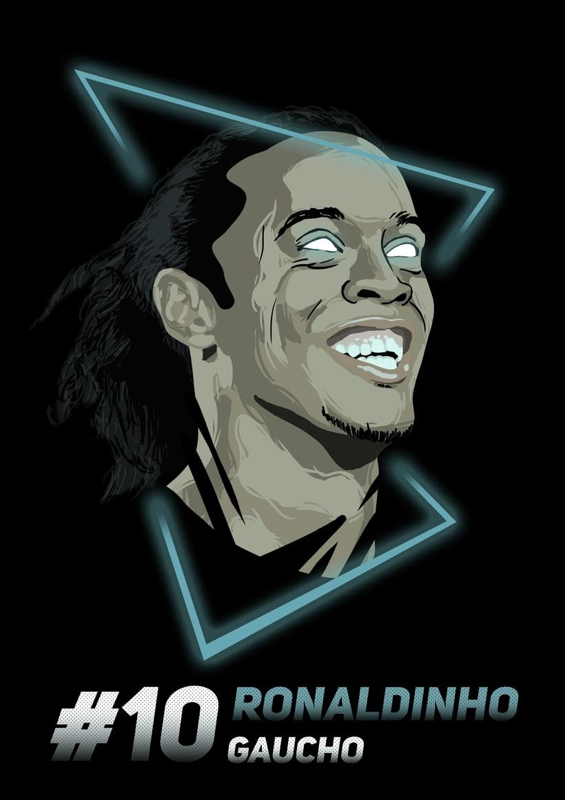 Ilustraciones de Ronaldinho, Pelé y Marado 1