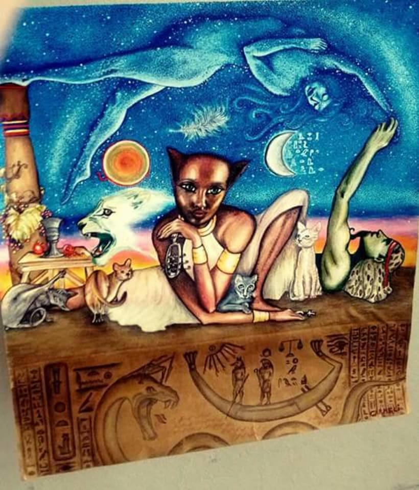 """Otro trabajo que he hecho anteriormente """"Bastet y otras mitologías egipcias"""" -1"""