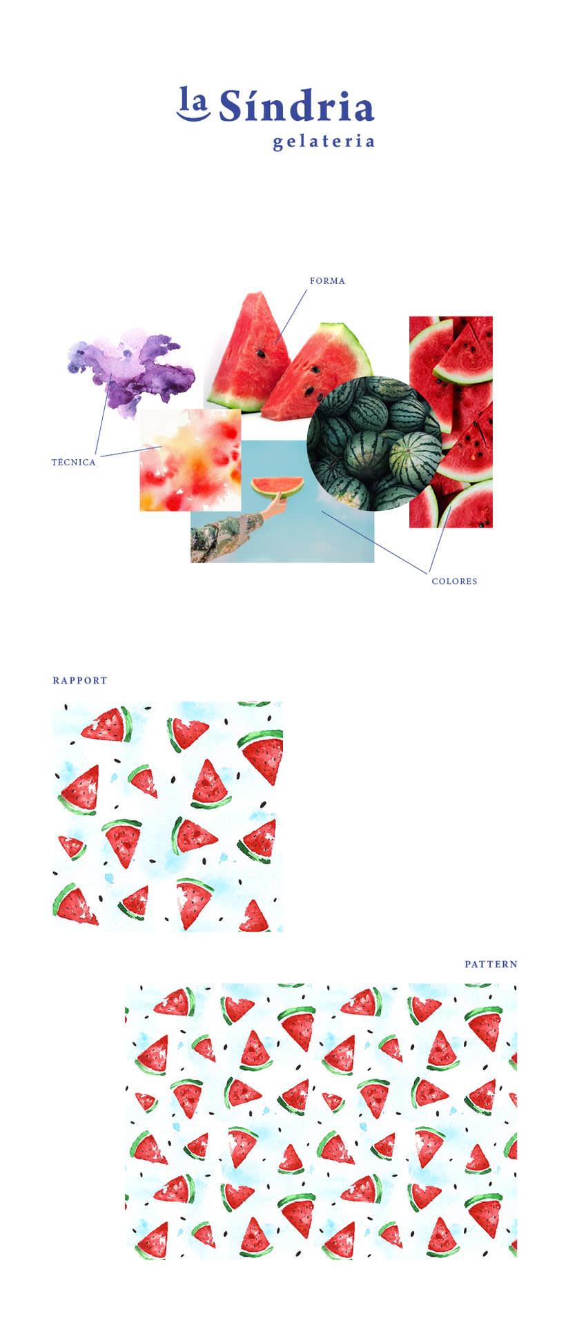 Marca de heladería + pattern sandías 1