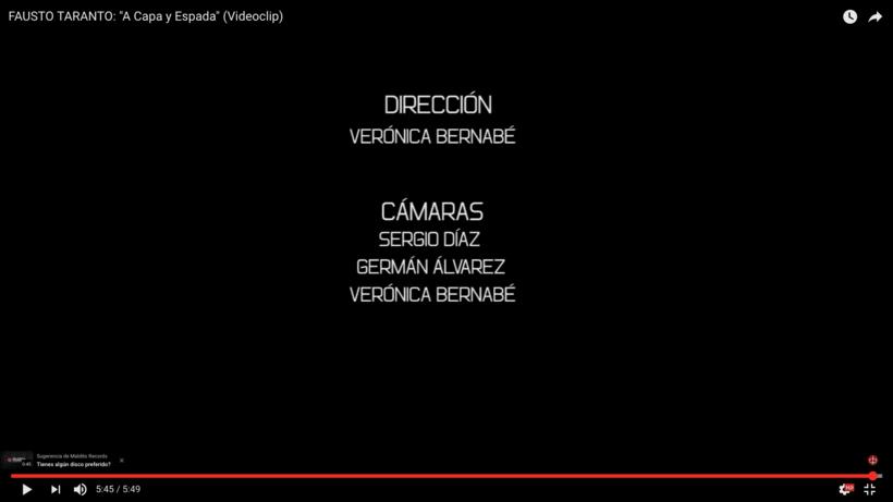 Video Clip. Fausto Taranto. Dirección, grabación y Montaje. 1
