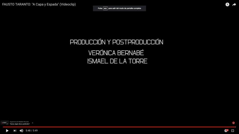 Video Clip. Fausto Taranto. Dirección, grabación y Montaje. 2
