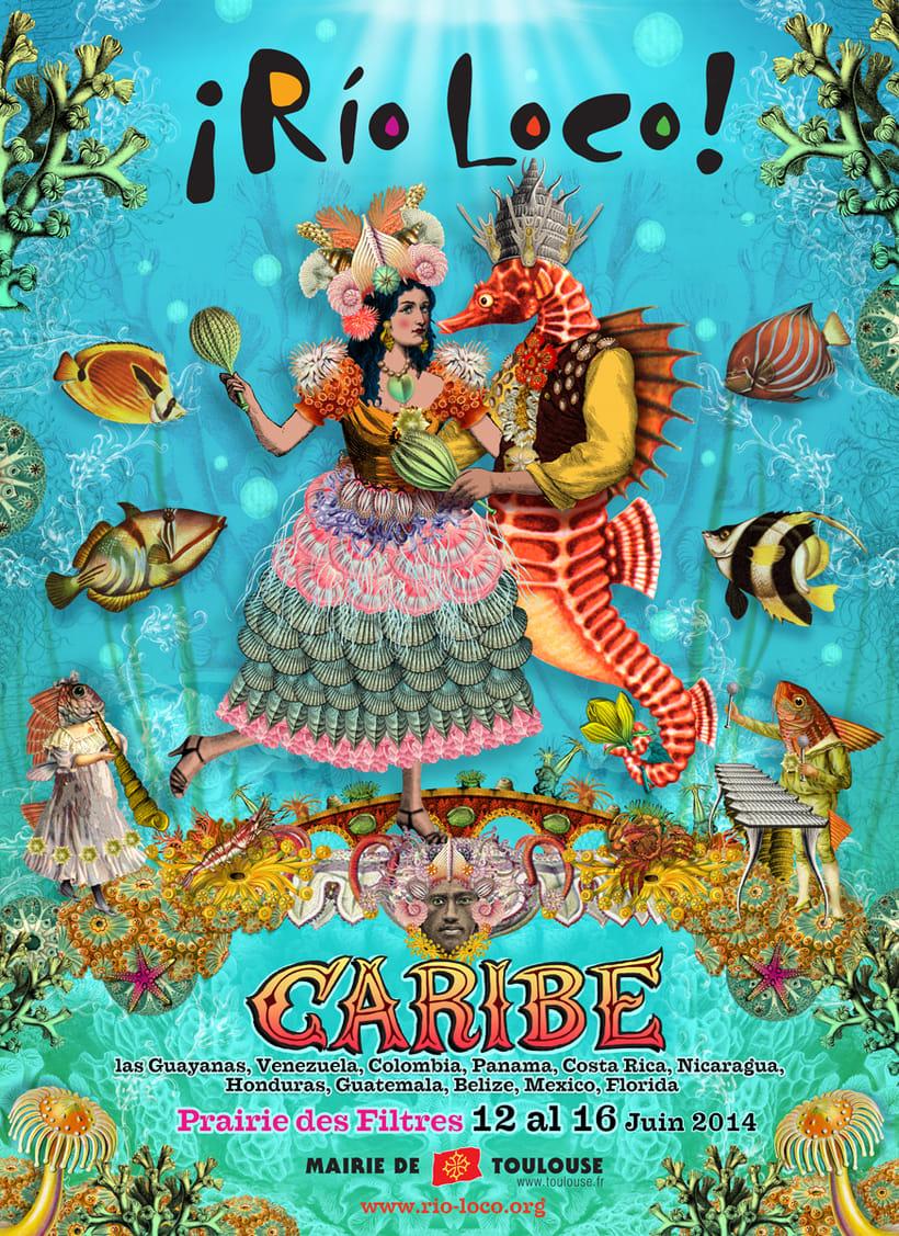 Río Loco 2014, cartel para festival de música en Francia -1