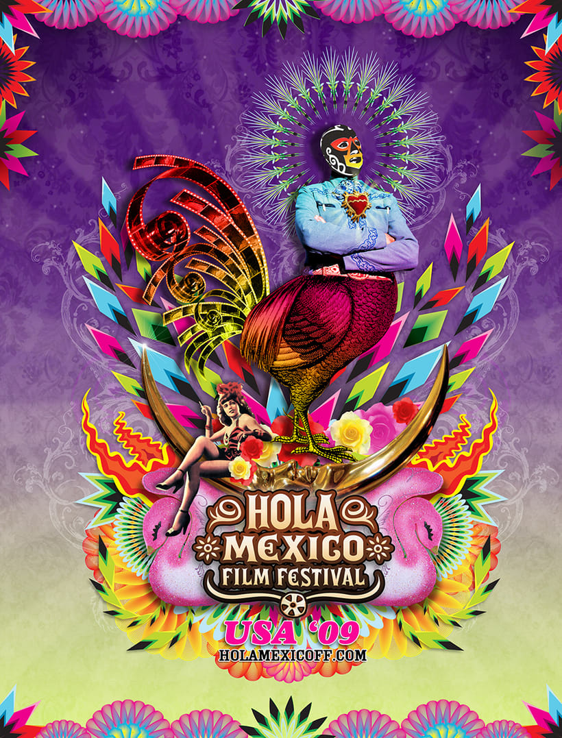 "Diseño de cartel para festival ""Hola México. Film Festival"" exhibido en USA, Australia, Nueva Zelanda -1"