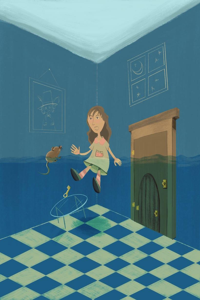 Ilustración digital - El charco de lágrimas (Alicia en el país de las maravillas) -1