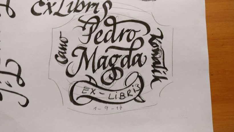 Ex Libris para un regalo de bodas muy especial. Caligrafía de Abelardo García. 3