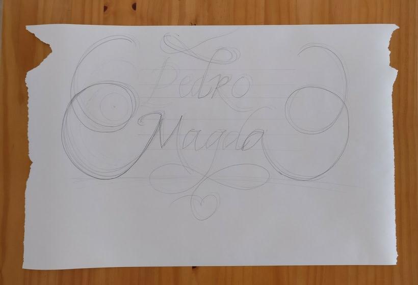 Ex Libris para un regalo de bodas muy especial. Caligrafía de Abelardo García. 18