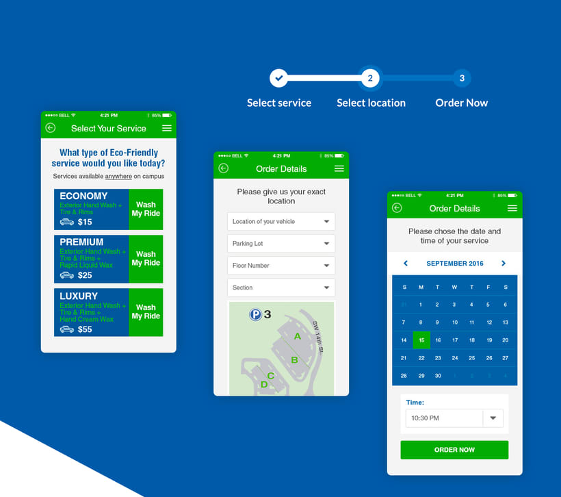 GT Eco Car Wash + UX/UI App + Landing Page 2