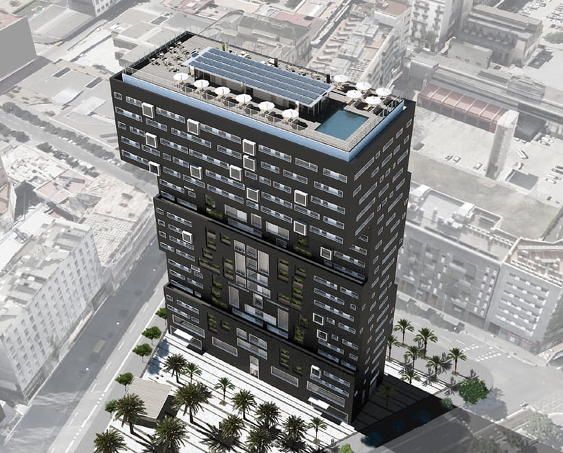 Diagonal Mar residence building, Barcelona. 3D visualization for AIA Arquitectura 5