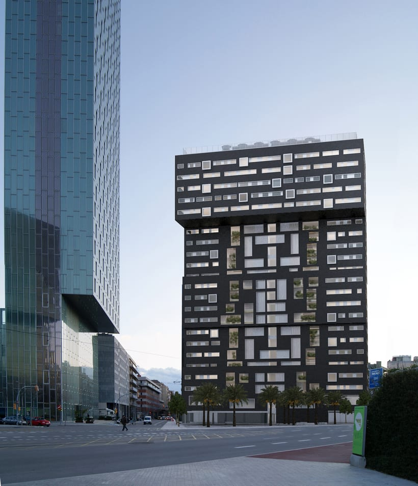 Diagonal Mar residence building, Barcelona. 3D visualization for AIA Arquitectura 6