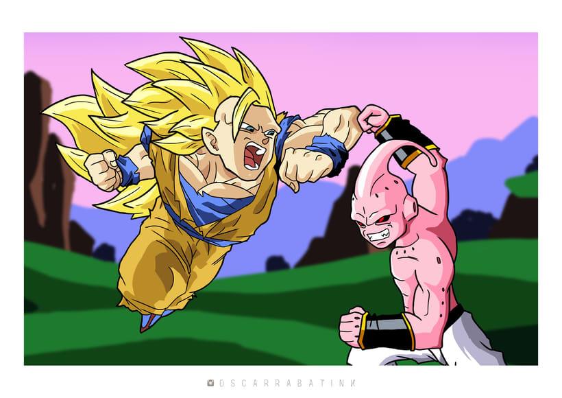 Ilustración de Goku y Buu -1