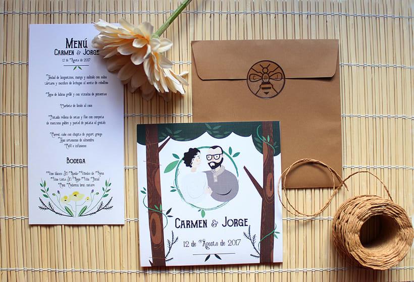 Invitación y papelería boda campestre 2