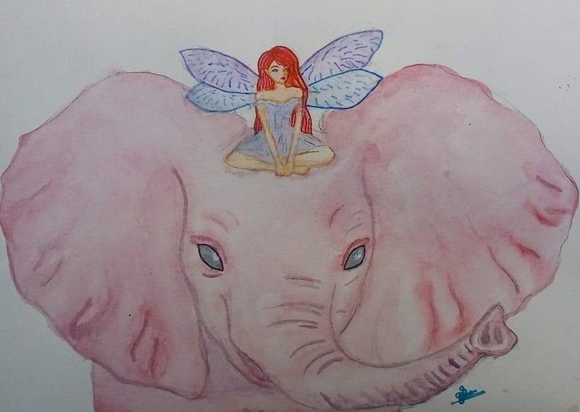 """Mi Proyecto del curso: Técnicas modernas de Acuarela, """"Un hada arrina de un elefante"""" a petición de mi hijaH -1"""