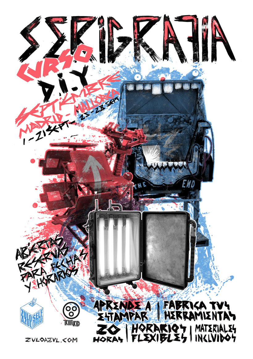 Curso de Serigrafia y fabricación de talleres zulo azul SEPTIEMBRE- Madrid - Mallorca 1