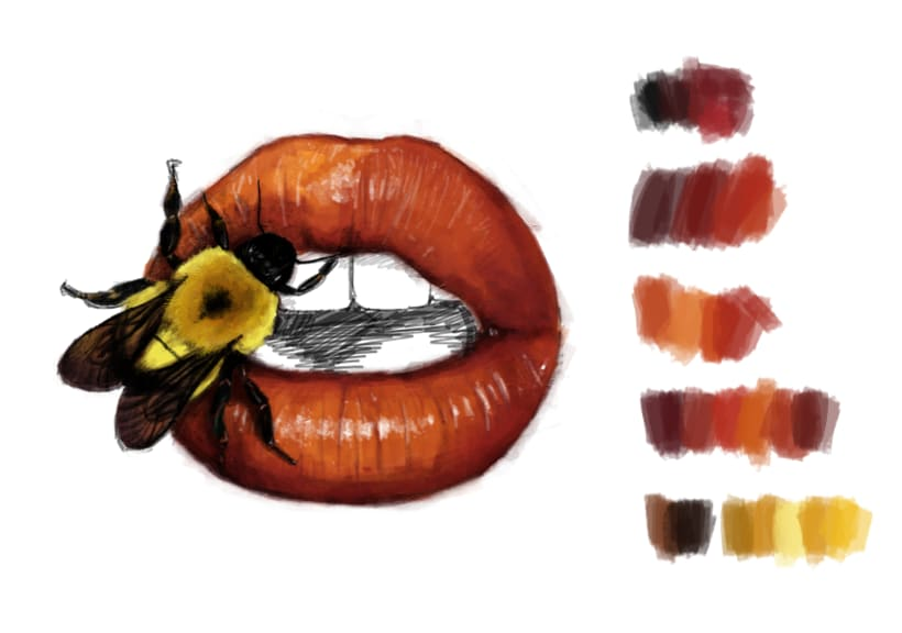 DIGITAL PAINT // LIPS //  Irving Penn y Julia Randall 1