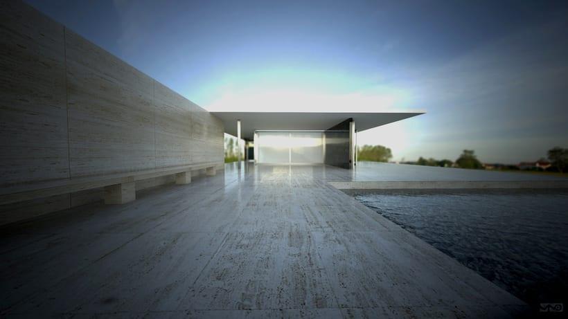 Pabellón Van Der Rohe / 3D render -1