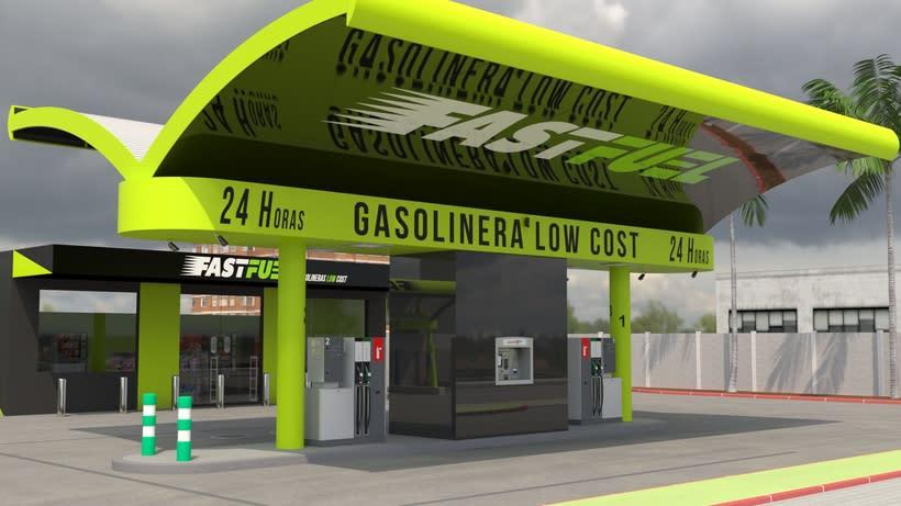 Recreación 3D de la construcción de gasolineras FASTFUEL y opcionales. -1