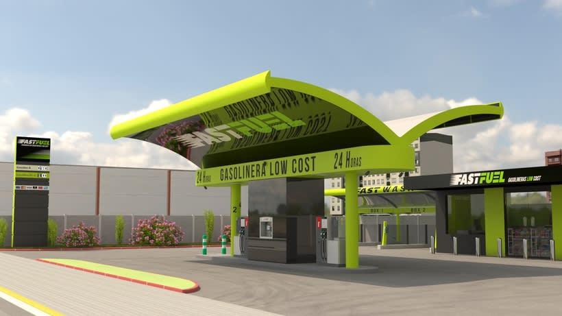 Recreación 3D de la construcción de gasolineras FASTFUEL y opcionales. 0